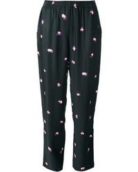 Pantalones de pijama con print de flores negros de See by Chloe