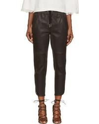 Pantalones de Pijama de Cuero Negros de Isabel Marant