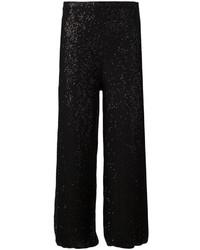 Pantalones de Pijama de Lentejuelas Negros de Oscar de la Renta