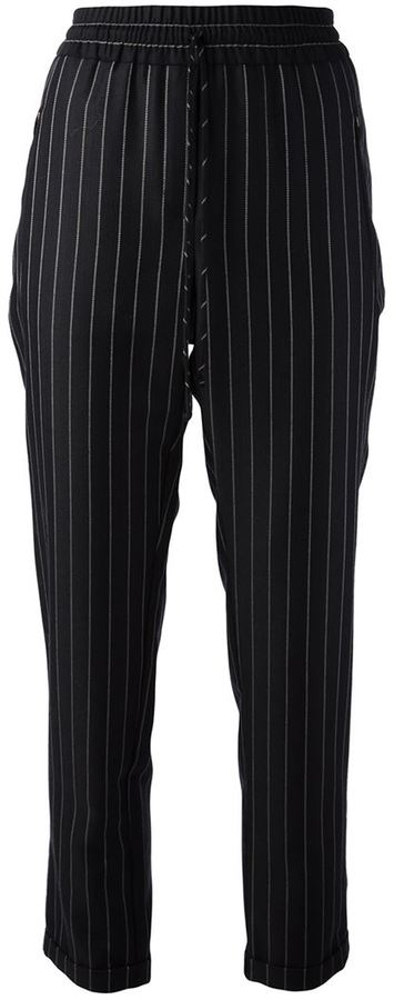 Pantalones de Pijama de Rayas Verticales Negros de Stella McCartney