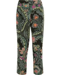 Pantalones de seda de paisley negros de Etro