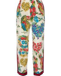 Pantalones de seda estampados blancos de Gucci