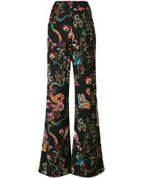 Pantalones de seda estampados negros de Etro