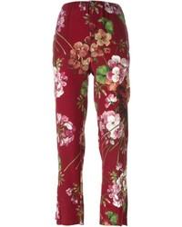 Pantalones de seda estampados rojos de Gucci