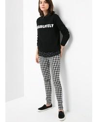 Pantalones pitillo a cuadros en negro y blanco