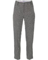 Pantalones pitillo a cuadros en negro y blanco de Carven