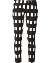 Pantalones pitillo a cuadros en negro y blanco de Dondup