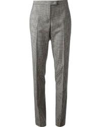 Pantalones pitillo a cuadros en negro y blanco de Jil Sander