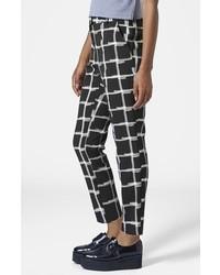 Pantalones pitillo a cuadros en negro y blanco de Topshop