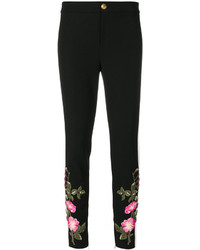Pantalones pitillo bordados negros de Gucci