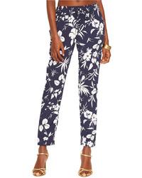 Pantalones pitillo con print de flores azul marino