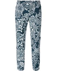 Pantalones pitillo con print de flores azul marino de Fay