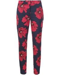 Pantalones pitillo con print de flores azul marino de Lela Rose
