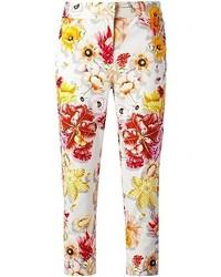 Pantalones pitillo con print de flores blancos de Salvatore Ferragamo
