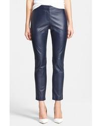 Pantalones pitillo de cuero azul marino de Halogen