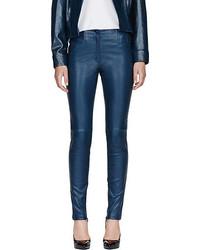 Pantalones pitillo de cuero azul marino de Thierry Mugler