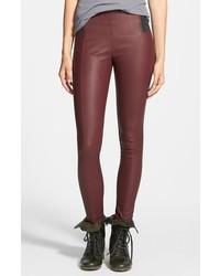 Pantalones pitillo de cuero burdeos
