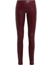 Pantalones pitillo de cuero burdeos de Balenciaga