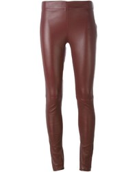 Pantalones pitillo de cuero burdeos de Joseph