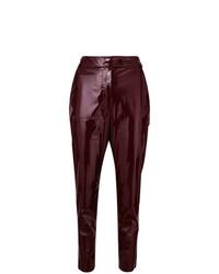 Pantalones pitillo de cuero burdeos de MSGM
