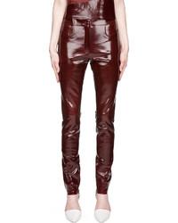 Pantalones pitillo de cuero burdeos de Thierry Mugler