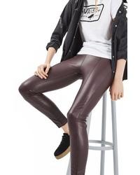 Pantalones pitillo de cuero burdeos de Topshop
