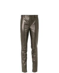 Pantalones pitillo de cuero dorados de Tufi Duek