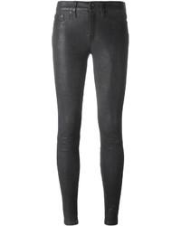 Pantalones pitillo de cuero en gris oscuro de Rag & Bone