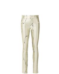 Pantalones pitillo de cuero estampados en beige de Haider Ackermann