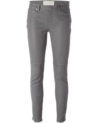 Pantalones pitillo de cuero grises de MICHAEL Michael Kors