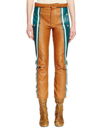 Pantalones pitillo de cuero marrón claro de Chloé