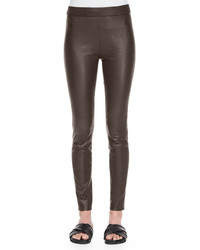Pantalones pitillo de cuero marrónes de Theory