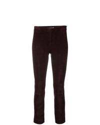 Pantalones pitillo de cuero morado oscuro de Vince