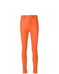 Pantalones pitillo de cuero naranjas de Manokhi