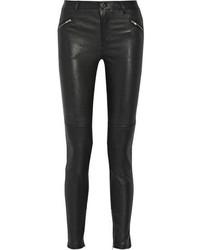 Pantalones pitillo de cuero negros