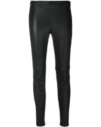 Pantalones pitillo de cuero negros de Alexander McQueen