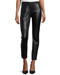 Pantalones pitillo de cuero negros de Eileen Fisher