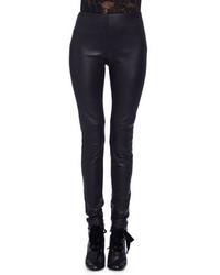 Pantalones pitillo de cuero negros de Lanvin
