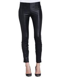 Pantalones pitillo de cuero negros de Theory