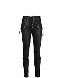 Pantalones pitillo de cuero negros de Unravel Project
