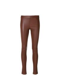 Pantalones pitillo de cuero rojos de Theory