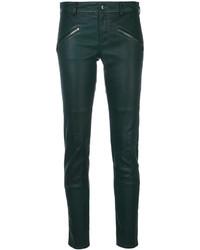 Pantalones pitillo de cuero verde oscuro de P.A.R.O.S.H.