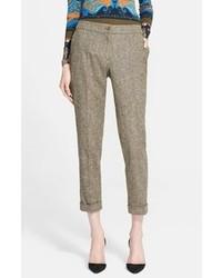 Pantalones pitillo de lana marrónes de Etro
