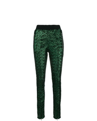 Pantalones pitillo de lentejuelas verde oscuro de Amen