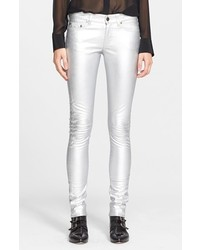 Pantalones pitillo de seda plateados de Saint Laurent