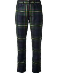 Pantalones pitillo de tartán en azul marino y verde