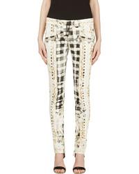 Pantalones pitillo estampados blancos de Balmain