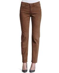 Pantalones pitillo estampados marrónes