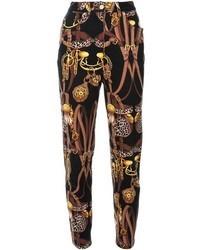 Pantalones pitillo estampados negros
