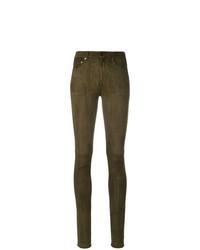 Pantalones pitillo verde oliva de Saint Laurent